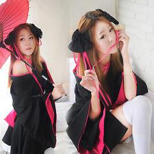 Women Japanese Lolita Kimono Maid Uniform Outfit Anime Cosplay Costume Dress
