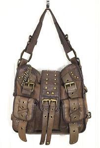 Betsey Johnson Handbag Vtg Lucky Charms Moto Satchel Brown Studded Leather EUC