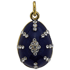 Russian Egg Faberge Pendant Blue Silver Enameled with Swarovski Crystals