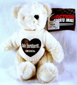 NWT 1999 ACTION SPORTS Dale Earnhardt Sr. WHITE PLUSH TEDDY BEAR Heart Sweater
