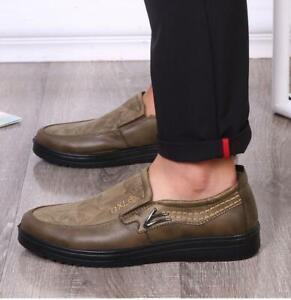 New Men Breathable Antiskid Slip On Loafers Moccasins Suede Leather Casual Shoes