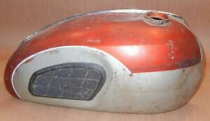 Late 1960's Triumph TR6 650cc steel gas fuel tank USED-original paint red/silver