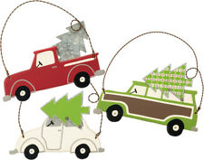 PBK Christmas Decor - Bringing the Tree Vintage Car Truck Ornaments 3pc