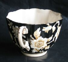 VTG RARE PARAGON FLORAL QUILTED YELLOW/BLACK TEACUP Appointment H.M.QUEEN MARY