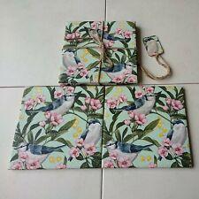 Gift Set of 2 Large Rustic Handmade Decoupaged Coaster Mats - Garden Birds