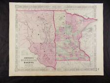 1863 CIVIL WAR MAP OF MINNESOTA & DAKOTA JOHNSON'S  ATLAS, w/ C.O.A. ORIG. VGC+