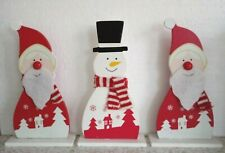 3 x Wooden Painted Christmas Decorations  Table Ornament Santa Snowman