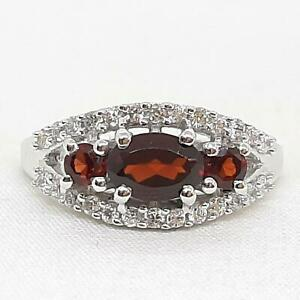 World Class 1.20ctw Garnet & Diamond Cut White Sapphire 925 Silver Ring Size 7
