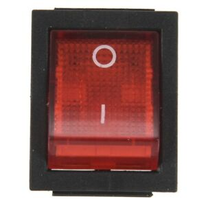 Red Light 4 Pin DPST ON/OFF Snap in Rocker Switch 15A/250V 20A/125V AC 28x2 H8A6