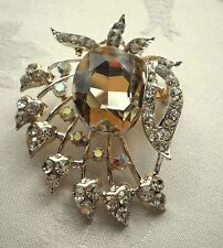 VINTAGE INSPIRED GOLD PLATED LARGE STATEMENT BROWN RHINESTONE  BROOCH