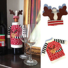 Christmas Bottle Cover Reindeer Knitted Sweater Jumper Outfit Wine Gift Xmas Hat