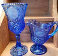 """Vintage Avon by Fostoria Glass 8"""" Cobalt Blue Glass Goblet & 6"""" Pitcher"""