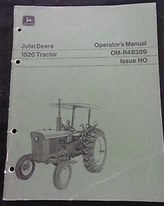 GENUINE 1970 JOHN DEERE 1520 TRACTOR OPERATORS MANUAL VERY GOOD