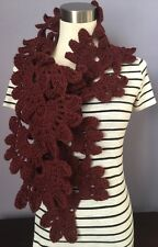 Handmade Crochet Lotus Flower Motif Scarf Vintage Style Chestnut Red Wool Blend