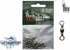 BLACK BARREL SWIVELS SIZE:8 QTY:18PCS FISHING TACKLE FORCE TEN TACKLE 8447