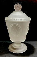 Fenton 1976 Bicentennial Commemorative Frosted Lidded Compote Candy Dish
