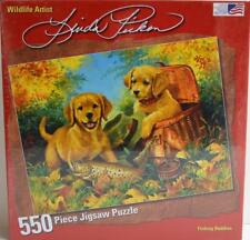 2009 Great American ~ Fishing Buddies ~ 550 Piece Puzzle ~ Lab Puppies Dog ~ New