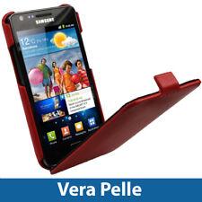 Rosso Vera Pelle Custodia per Samsung Galaxy S2 II i9100 Case Cover Protezione