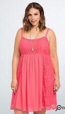 NWT Torrid Coral Crochet Lace Dress - Women's Plus Size 1 1X 14/16 (PP04)