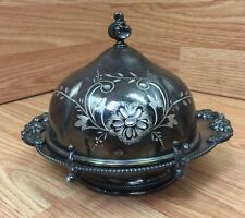 Superior Silver Co Quadruple Plated cheese ball server butter dish
