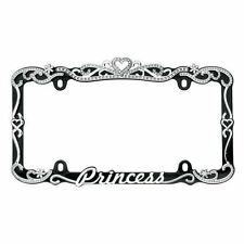 License Plate Frame Princess Chrome/Black Sparkling Crystal Tiara Top Cruiser
