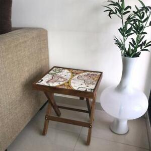 Wood Vintage Map End Table (Matte Finish) Furniture Home Decor