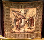 """Vintage Cloth Tapestry~Middle Eastern~Sheik w/Men~Cottony~64"""" x 62""""~Fascinating"""