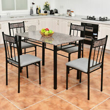 5 Piece Faux Marble Dining Set Table and 4 Chairs Kitchen Breakfast Furniture
