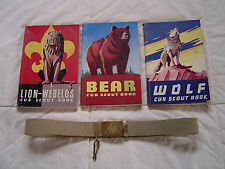 3 Vintage Cub Boy Scout Books Wolf 1957 Bear 1958 Lion Webelos 1954 Used & Belt