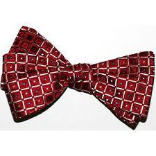 """Bow Tie Men. 100 % Woven Silk. Red Geometric SELF TIE Bowtie.  2.5"""" wide."""