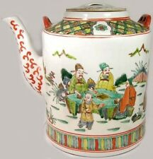 XL 19thC Antique Hand Painted Famille Rose Porcelain Teapot Depicts Daily Life