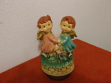 "Vintage ""K.N. Exclusive"" Boy & Girl Angel Figural Turning Music Box"