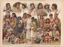 Amerika Ethnologie Indianer Mexikaner LITHOGRAPHIE von 1898 American Indians