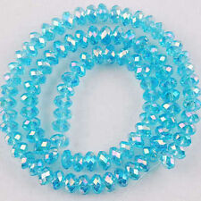 100 PCS , 4 X 6 mm Faceted Light Blue Crystal Gemstone Abacus Loose Beads