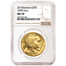 2018 $50 American Gold Buffalo NGC MS70 Brown Label