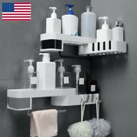 Kitchen/Bathroom Shower Shelf Corner Bath Storage Holder Organizer Rack White
