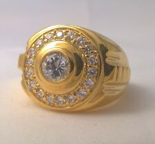 G-Filled Men's 18k yellow gold ring simulated diamond Gents round classy looking
