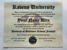 Baltimore Ravens Nfl #1 Fan Certificate Man Cave Diploma Perfect Gift