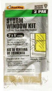 Frost King P712H Clear Polyethylene Window Kit , 3' x 6' x 1.25 Mil, 2 Pack