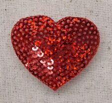 Iron-On Applique/Embroidered Patch - Valentines Sequin Heart - RED - Medium