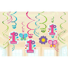 Sweet Girl 1st Birthday Value Pack Hanging Foil Swirl Decorations Party Supply