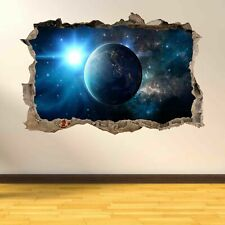 Earth Planet Space Stars Solar System 3D Smashed Wall Art Stickers AD22