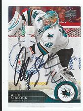 Alex Stalock Signed 2014/15 Upper Deck Card #160
