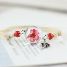 For Women Adjustable Dried Flower Bracelets Bangle Gift Grass Ball Jewelry