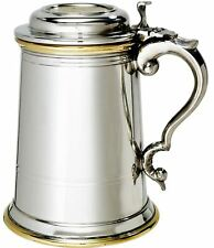 Tankard 1 Pint Extra Heavy Celtic Tankard With Brass Insert Lid English Pewter