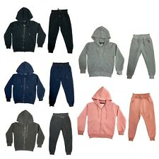 Boys Girls Kids Plain Tracksuit PE School Hoodie Joggers Fleece Jogging Bottoms