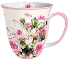 "Porzellan-Tasse""Maxima""Rosen*rosa*creme*grün*Rose* 0,4l Kaffee-Becher*Bone China"