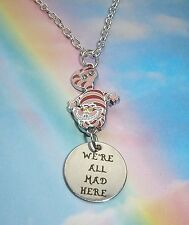 PINK CHESHIRE CAT WE'RE ALL MAD HERE NECKLACE ALICE IN WONDERLAND IN GIFT BAG