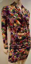 KENZO PARIS Bold Multi-Colour Floral Print Wool Draped V Neck Top & Skirt Suit