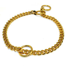 Stainless Steel P Choke Dog Show Snake Chain Collars Slip Heavy Duty Gold Silver